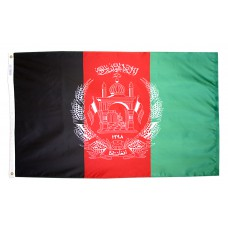 Afghanistan Flag 3x5 Feet Nylon SolarGuard Nyl-Glo and Gold Fringe for Parades, and Indoor Display