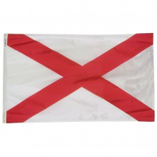 Alabama State Flag 4x6 Feet Nylon SolarGuard Nyl-Glo 100% Made in USA to Official State Design Specifications.