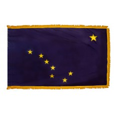 Alaska State Flag 3x5 Feet Nylon with Pole Sleeve and Gold Fringe for Parades, and Indoor Display