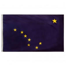 Alaska State Flag 5x8 Feet Nylon SolarGuard Nyl-Glo 100% Made in USA to Official State Design Specifications.