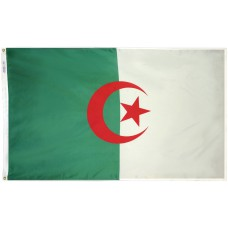 Algeria Flag 3x5 Feet Nylon SolarGuard Nyl-Glo and Gold Fringe for Parades, and Indoor Display