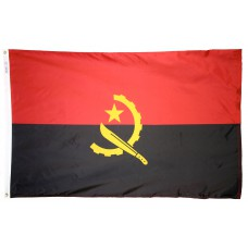Angola Flag 3x5 Feet Nylon SolarGuard Nyl-Glo and Gold Fringe for Parades, and Indoor Display