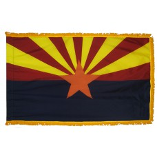 Arizona State Flag 4x6 Feet Nylon with Pole Sleeve and Gold Fringe for Parades, and Indoor Display