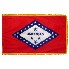 Arkansas State Flag 3x5 Feet Nylon with Pole Sleeve and Gold Fringe for Parades, and Indoor Display