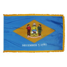 Delaware State Flag 3x5 Feet Nylon with Pole Sleeve and Gold Fringe for Parades, and Indoor Display
