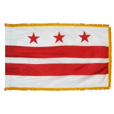 District of Columbia Flag 4x6 Feet Nylon with Pole Sleeve and Gold Fringe for Parades, and Indoor Display