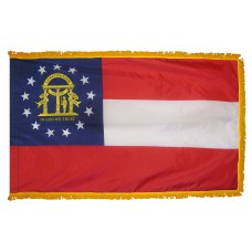 Georgia State Flag 3x5 Feet Nylon with Pole Sleeve and Gold Fringe for Parades, and Indoor Display