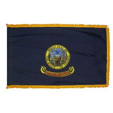 Idaho State Flag 3x5 Feet Nylon with Pole Sleeve and Gold Fringe for Parades, and Indoor Display