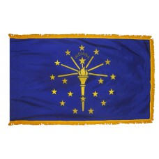Indiana State Flag 4x6 Feet Nylon with Pole Sleeve and Gold Fringe for Parades, and Indoor Display