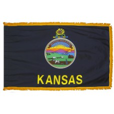 Kansas State Flag 3x5 Feet Nylon with Pole Sleeve and Gold Fringe for Parades, and Indoor Display