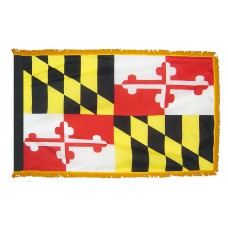 Maryland State Flag 4x6 Feet Nylon with Pole Sleeve and Gold Fringe for Parades, and Indoor Display