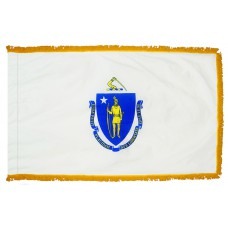 Massachusetts State Flag 4x6 Feet Nylon with Pole Sleeve and Gold Fringe for Parades, and Indoor Display