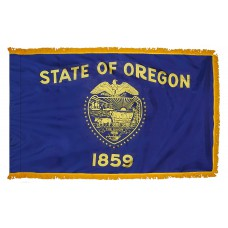 Oregon State Flag 4x6 Feet Nylon with Pole Sleeve and Gold Fringe for Parades, and Indoor Display