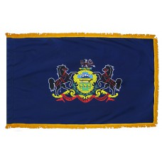 Pennsylvania State Flag 3x5 Feet Nylon with Pole Sleeve and Gold Fringe for Parades, and Indoor Display
