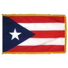 Puerto Rico Flag 3x5 Feet Nylon with Pole Sleeve and Gold Fringe for Parades, and Indoor Display
