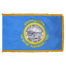 South Dakota State Flag 3x5 Feet Nylon with Pole Sleeve and Gold Fringe for Parades, and Indoor Display