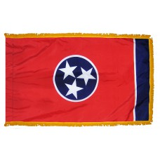 Tennessee State Flag 4x6 Feet Nylon with Pole Sleeve and Gold Fringe for Parades, and Indoor Display
