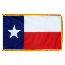 Texas State Flag 4x6 Feet Nylon with Pole Sleeve and Gold Fringe for Parades, and Indoor Display